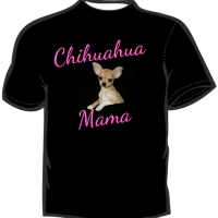 Chihuahua Mama  T-Shirt  Black with Pink