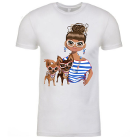 Just a Girl with Her Chihuahuas  - Blue Stripes