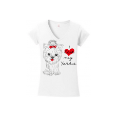 I Love My Yorkie  T-shirt in White, Gray,  Pink & Red