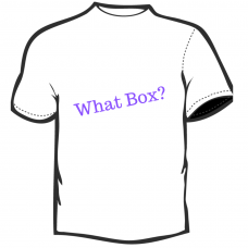 What Box?    T-Shirt  White with Purple Lettering