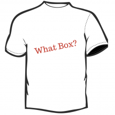 What Box?   T-Shirt  White with Red Lettering