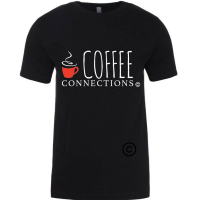 Coffee Connections - Black T-Shirt with White Lettering