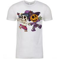 Dancing Halloween Skeleton and Pumpkin  T-Shirt