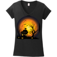 Haunted House Against an Orange Moon